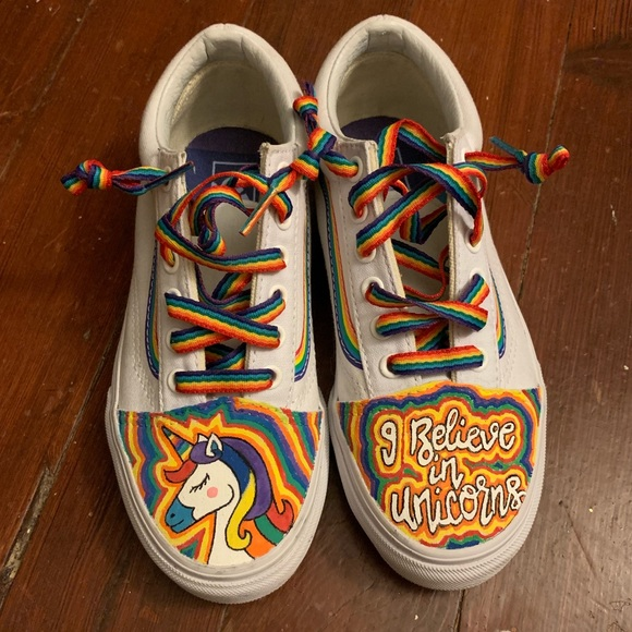 Custom Painted Old Vans Skool Rainbow Bottom Shoes 8nvm0NwO